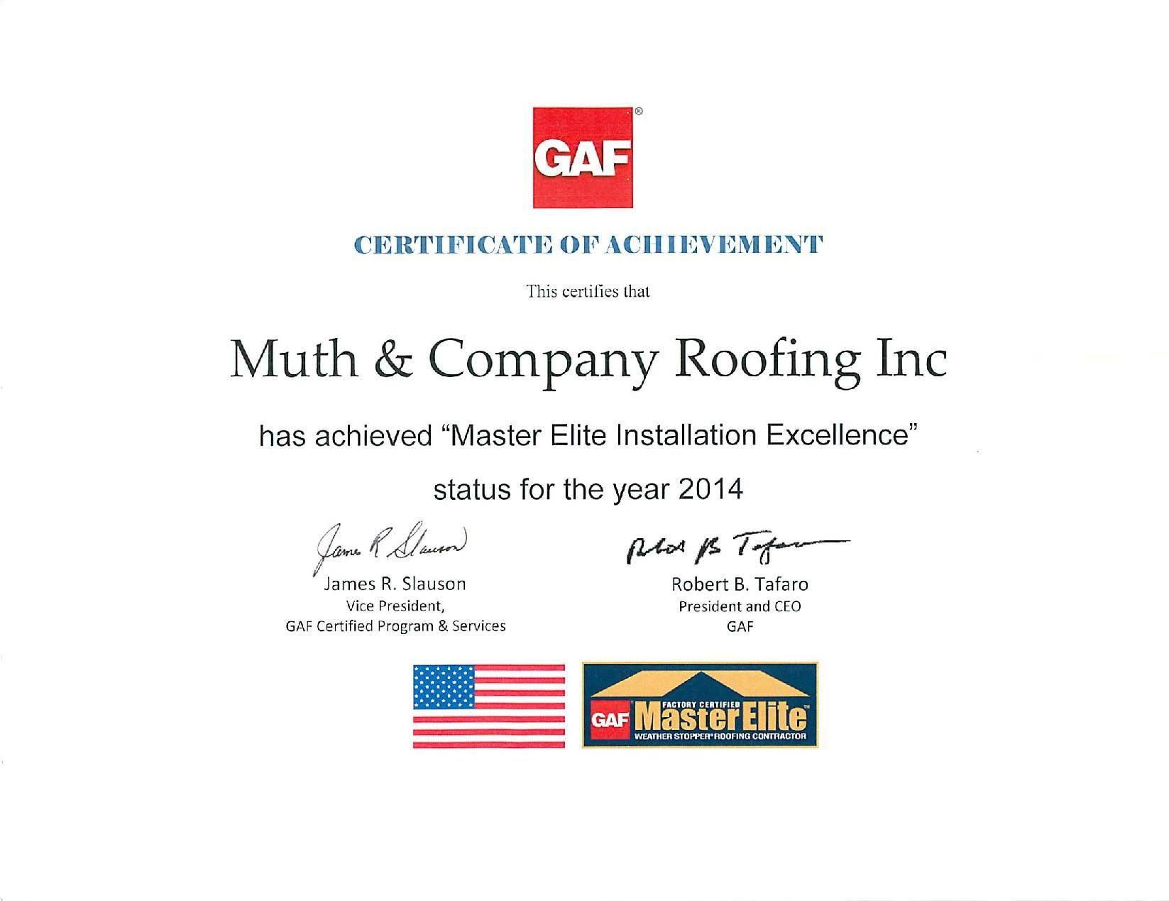 Gaf Master Elite Contractor Westerville Oh Muth Amp Company Roofing