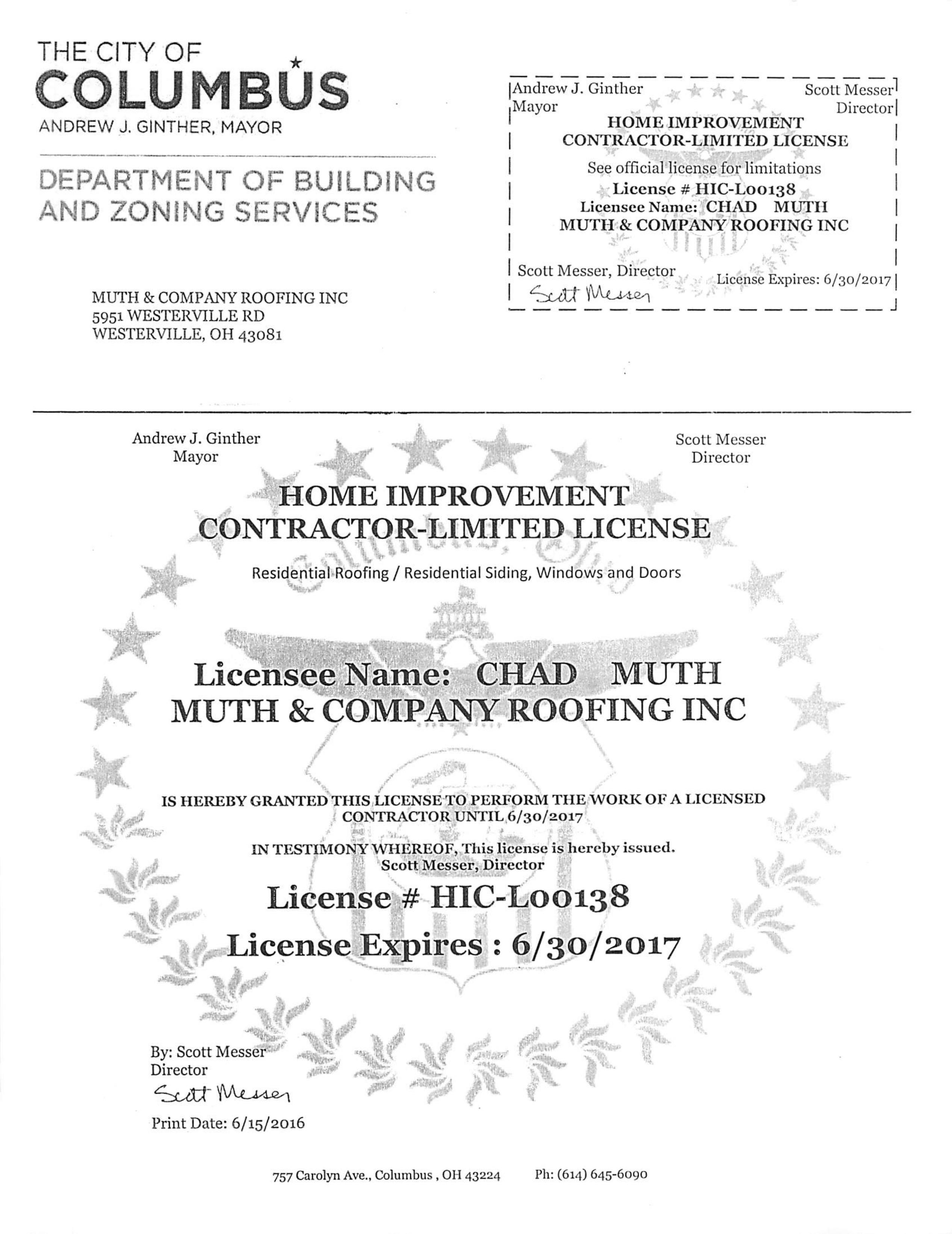 Select The Roofing Contractor Columbus Knows Is Fully Licensed And Insured  To Work On Your Home U2013 Muth U0026 Company Roofing!