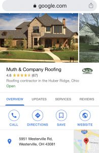 Muth & Company Roofing Google Review page