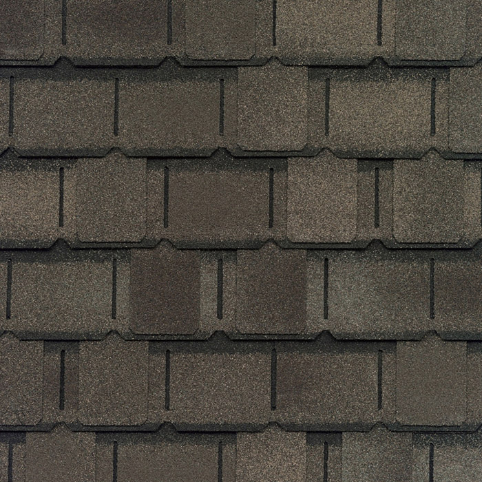 GAF's Camelot II Weathered Wood shingle swatch