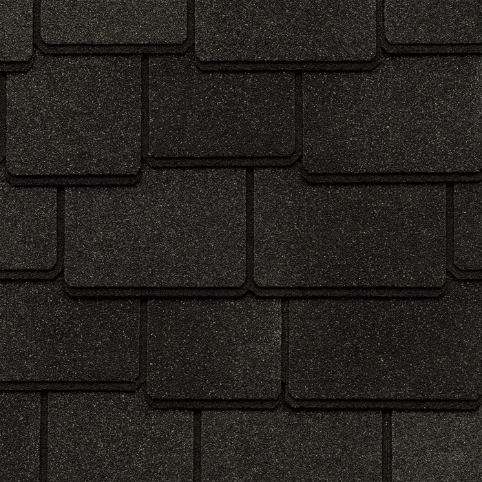 GAF's Woodland Canterbury Black shingle swatch